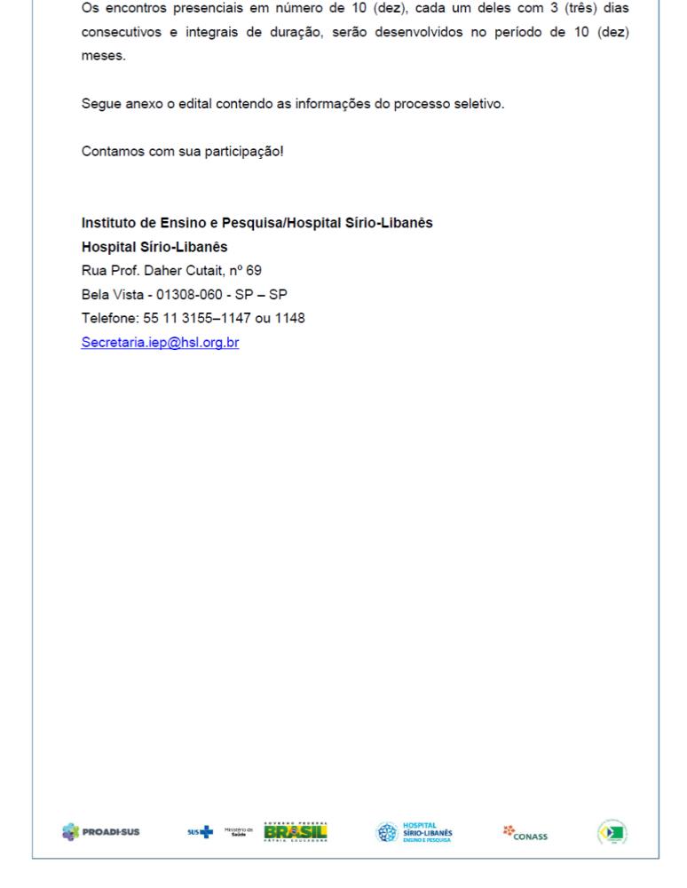 Prazo até 10/09/15 - Edital para o Processo Seletivo para o Curso de Especialização em Preceptoria para Residência Médica (2/2)